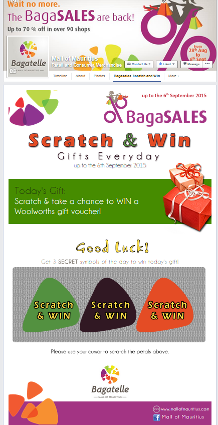 SCRATCH & WIN Facebook Game App for Mall of Mauritius